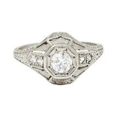 1920's Art Deco 0.40 Carats Diamond Platinum Octagonal Starburst Engagement Ring