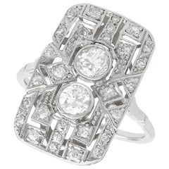 1920s Art Deco 1.49 Carat Diamond Platinum Cocktail Ring