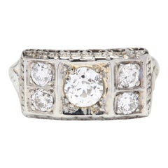1920s Art Deco 18 Karat White Gold Diamond Ring