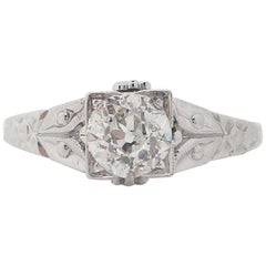 1920s Art Deco 18 Karat White Gold Euro Cut Diamond Engagement Ring