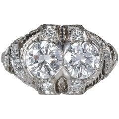 1920s Art Deco 1.90 Carat Total Diamond Engagement Ring, Platinum