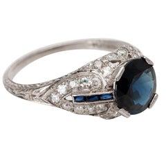 1920s Art Deco 2 Carat Sapphire and .35 Carat Diamond Platinum Ring