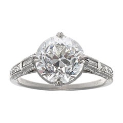 1920s Art Deco 2.68 GIA GVS2 OEC Diamond Platinum Engagement Ring
