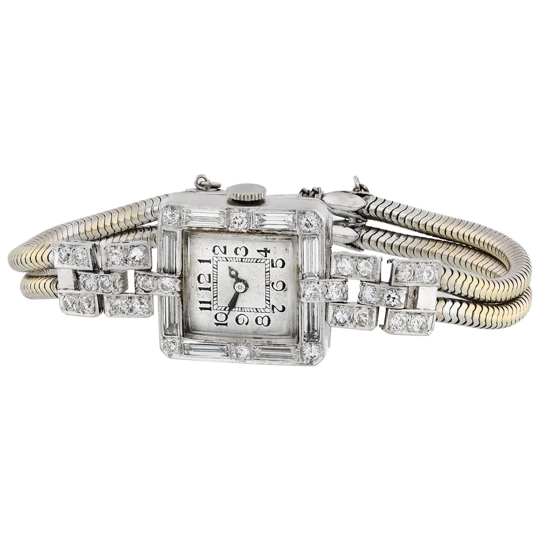 1920s Art Deco 5.86 Carat Diamond Ladies Platinum Watch