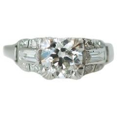 1920s Art Deco .90 Carat Old European Diamond Platinum Engagement Ring