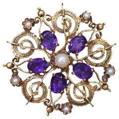 1920s Art Deco Amethyst and Pearl Brooch Pendant