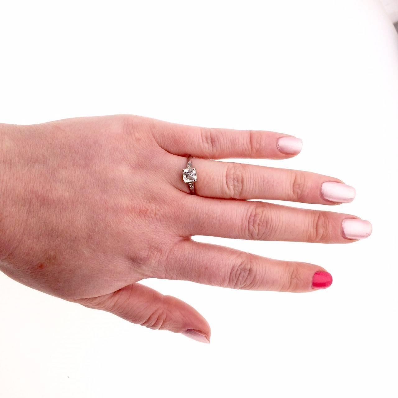 1920s Art Deco Asscher Cut Diamond Ring in Platinum For Sale at 1stdibs