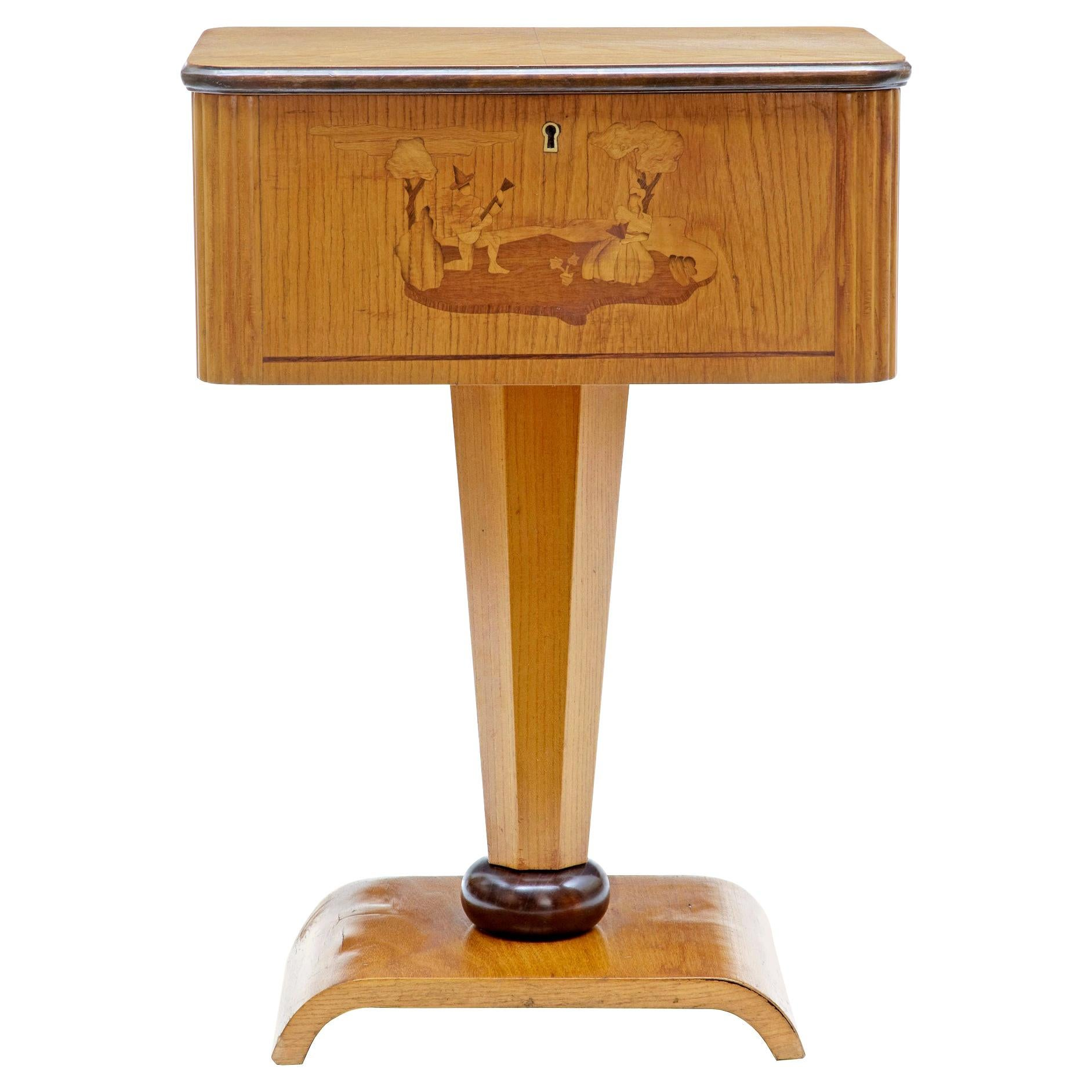 1920's Art Deco Birch Inlaid Small Work Table