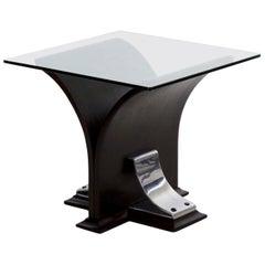1920s Art Deco Black Ebonized Walnut, Aluminum, and Glass Top Side Table