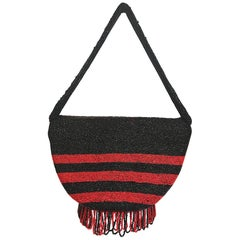 1920s Art Deco Black & Red Bead Flapper Handbag