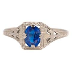 1920s Art Deco Blue Sapphire and 10 Karat White Gold Filigree Engagement Ring