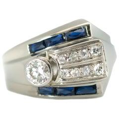 1920s Art Deco Blue Sapphire, Old European Diamond and 14 Karat White Gold Ring