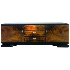 1920s Art Deco Burl Wood Lowboard from France