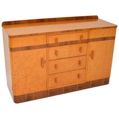 1920s Art Deco Burr Maple and Walnut Sideboard