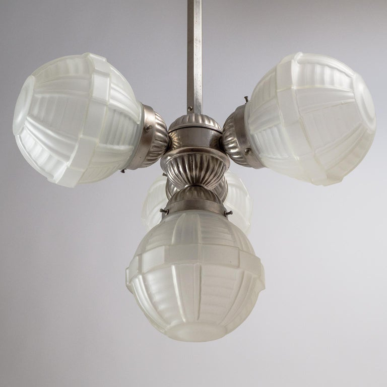 1920s Art Deco Chandelier, Nickel and Satin Glass For Sale 5