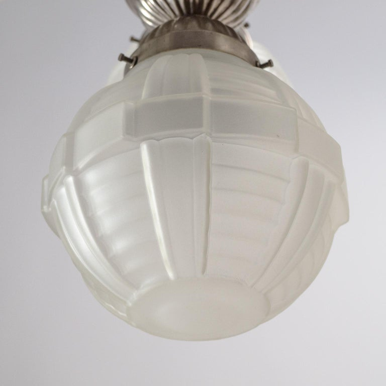 1920s Art Deco Chandelier, Nickel and Satin Glass For Sale 6