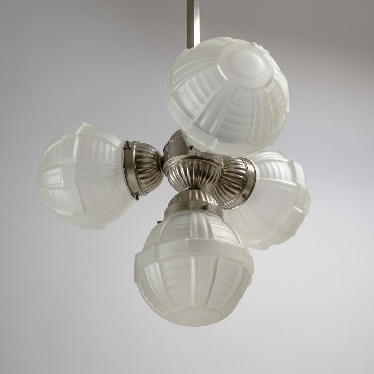 1920s Art Deco Chandelier, Nickel and Satin Glass For Sale 7