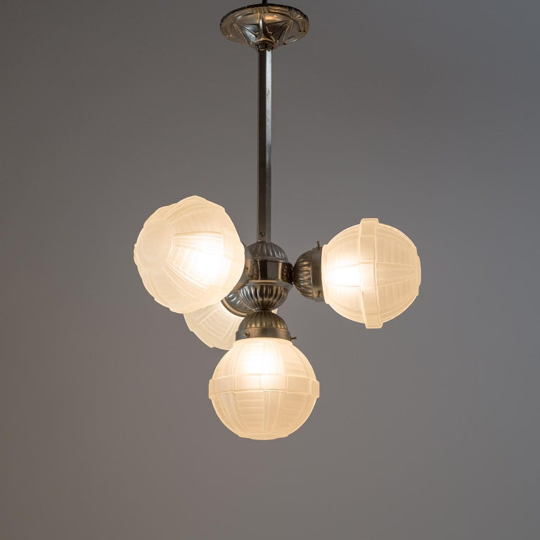 1920s Art Deco Chandelier, Nickel and Satin Glass For Sale 10