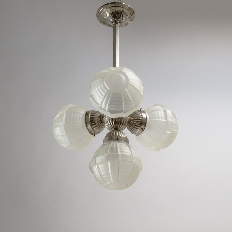 1920s Art Deco Chandelier, Nickel and Satin Glass For Sale 12