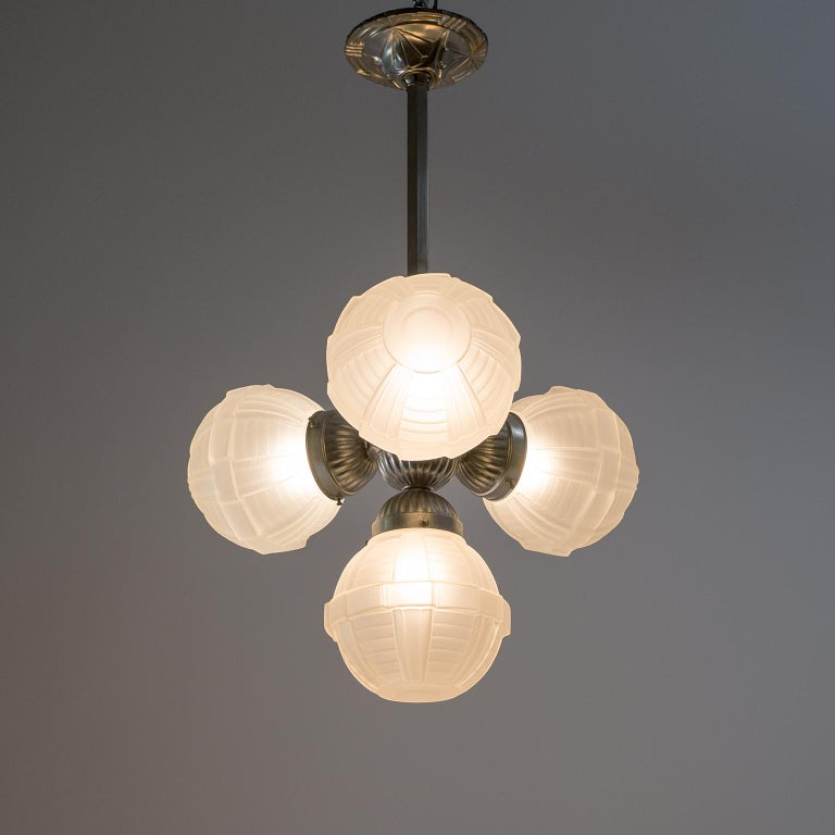 1920s Art Deco Chandelier, Nickel and Satin Glass For Sale 13