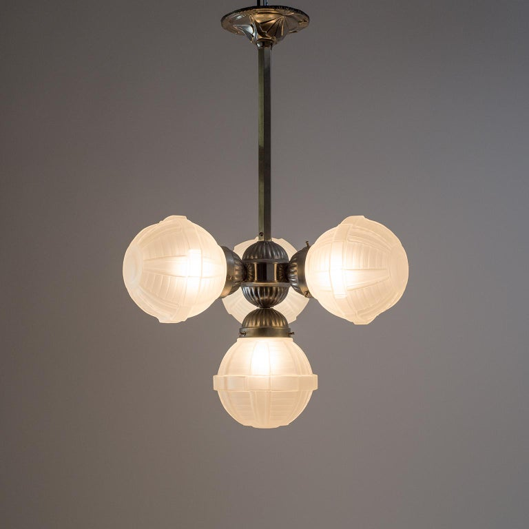 Frosted 1920s Art Deco Chandelier, Nickel and Satin Glass For Sale