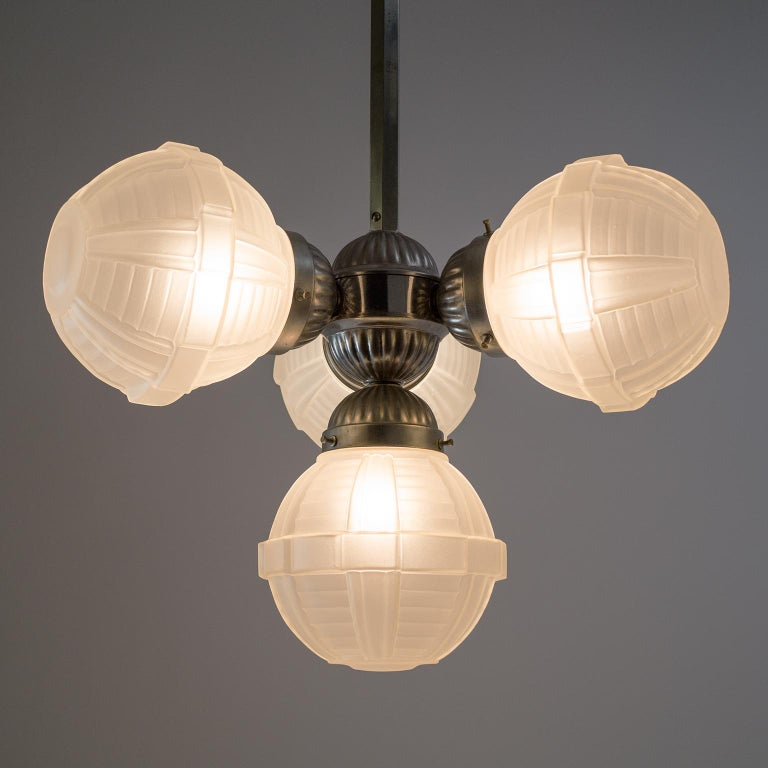 1920s Art Deco Chandelier, Nickel and Satin Glass In Good Condition For Sale In Vienna, AT