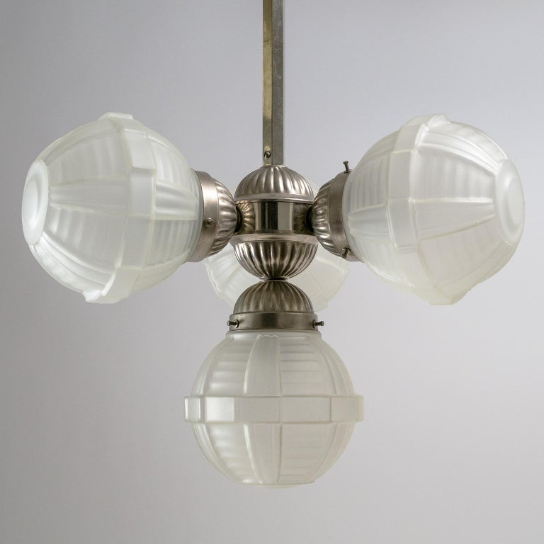 Early 20th Century 1920s Art Deco Chandelier, Nickel and Satin Glass For Sale