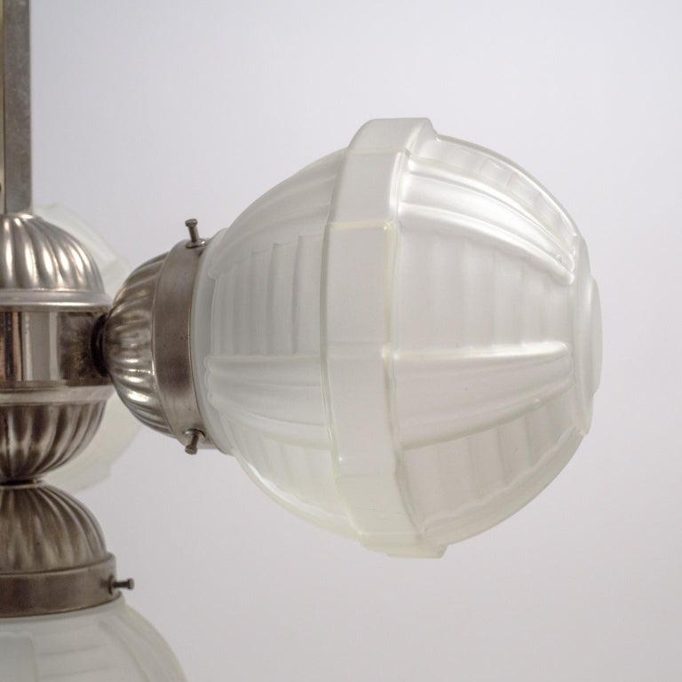 1920s Art Deco Chandelier, Nickel and Satin Glass For Sale 1