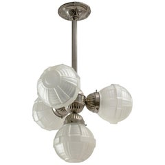 1920s Art Deco Chandelier, Nickel and Satin Glass