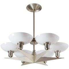 1920s Art Deco Chandelier, Nickeled Brass and Glass