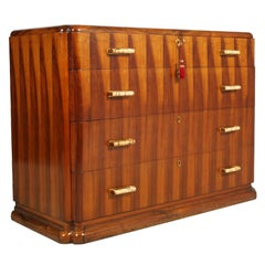 1920s Art Deco Commode, Walnut, Handles in Bone and Brass from Cantu, Restored