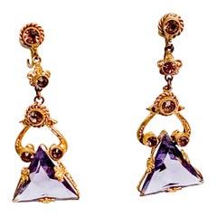 1920s Art Deco Crystal Amethyst Colored Crystal Earrings
