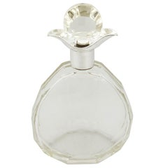1920s Art Deco Cut Glass and Sterling Silver Mounted Decanter