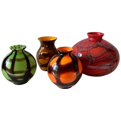 1920s Art Deco Czechoslovakian Bohemian Webbed Art Glass Ball Vase Collection