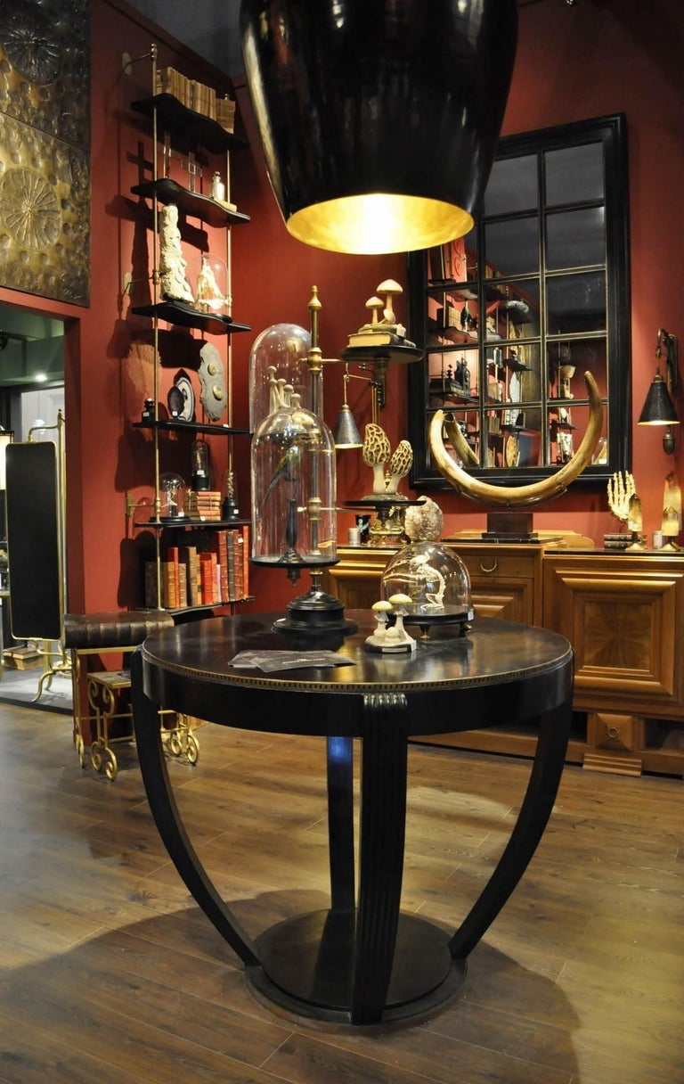 Contemporary 1920s Art Deco Design Black Wooden and Brass Round Large Pedestal Table For Sale