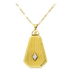 1920s Art Deco Diamond 14 Karat Gold Locket Pendant Necklace