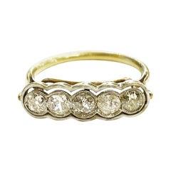 1920s Art Deco Diamond Platinum 18k Yellow Gold Enamel Five-Stone Ring