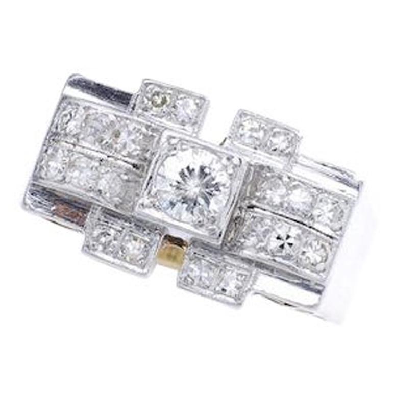 1920S Art Deco Diamond Platinum and Yellow Gold Ring