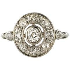 1920s Art Deco Diamond Platinum Oval Engagement Ring