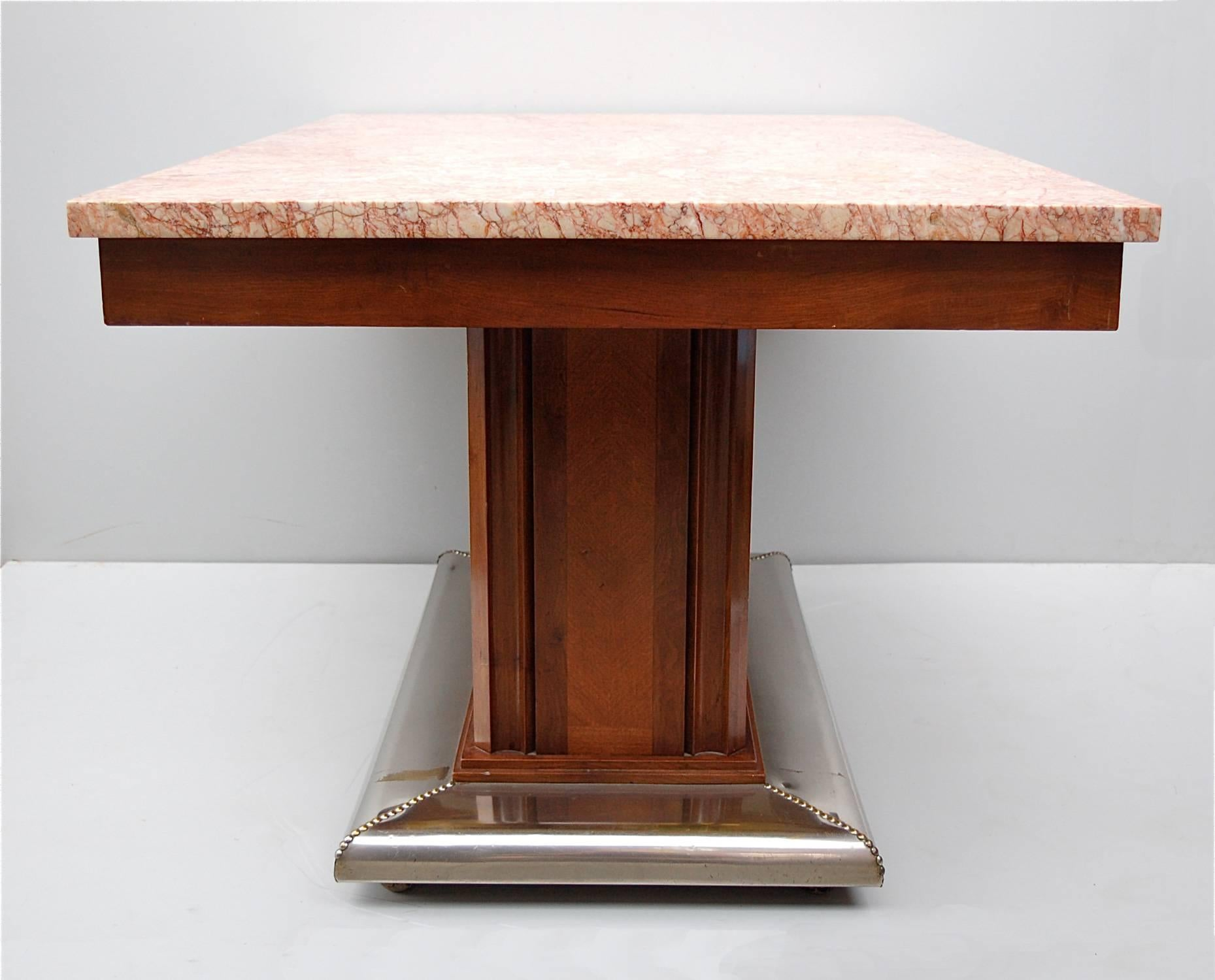 1920s Art Deco Dining Table With Pink Marble Top And Metal Pedestal