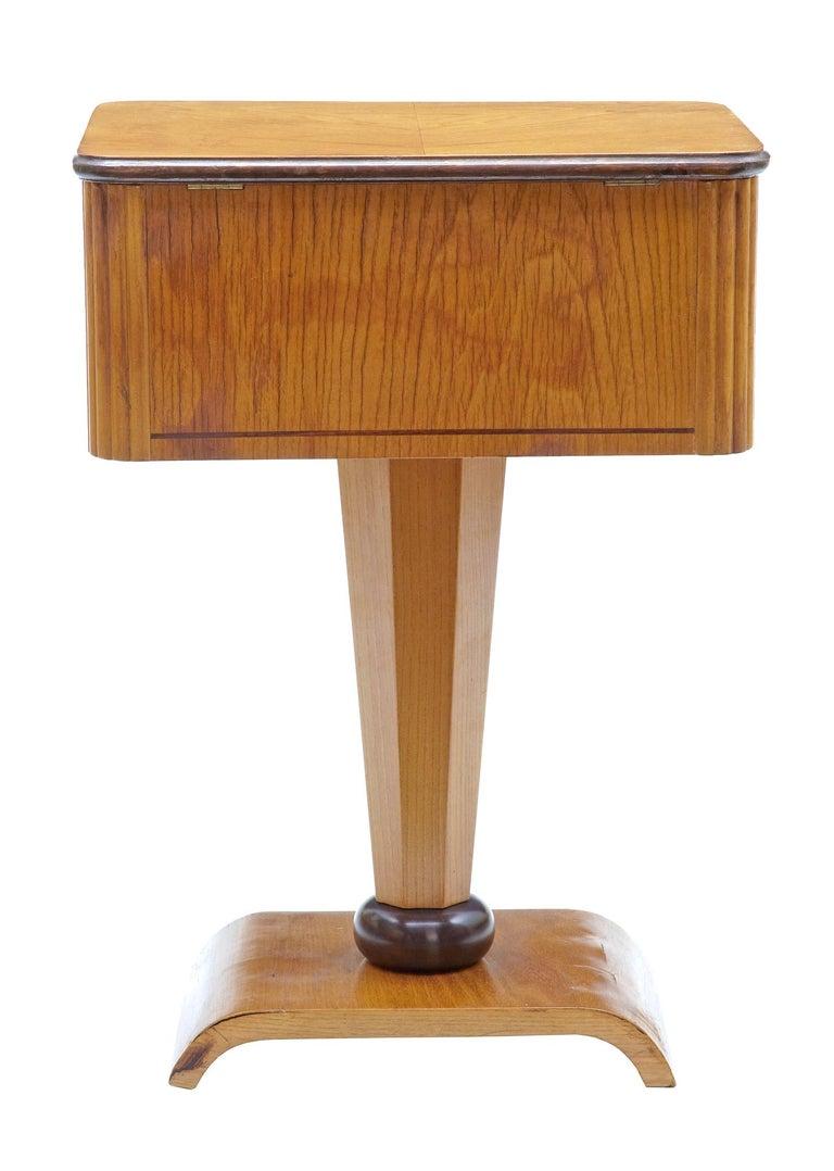 Swedish 1920s Art Deco Elm and Birch Inlaid Work Table