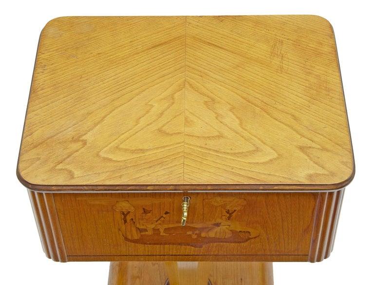 1920s Art Deco Elm and Birch Inlaid Work Table In Fair Condition In Debenham, Suffolk