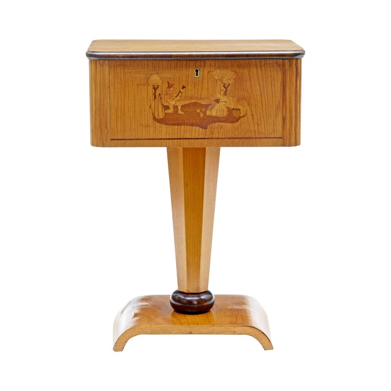 1920s Art Deco Elm and Birch Inlaid Work Table