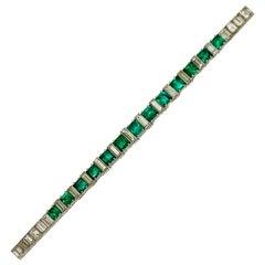 1920s Original Art Deco Emerald Diamond Important Line Bracelet