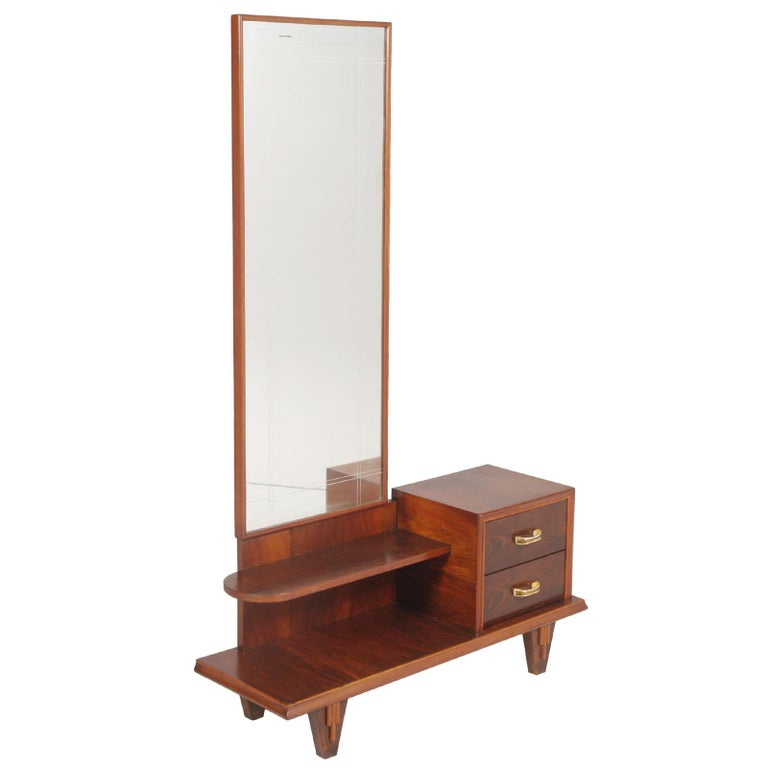 1920s Art Deco Entry Cabinet, Dressing Table, Walnut, Restored, Wax Polished For Sale