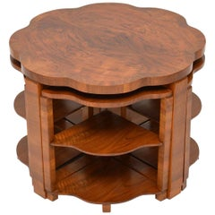 1920's Art Deco Figured Walnut Nesting Coffee Table