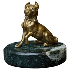 1920s Art Deco French Cast Brass Bullterrier Dog on Green Marble Paperweight