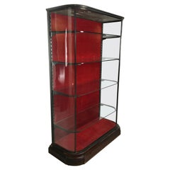 1920s Art Deco Glass, Bronzed Nickel and Wood Vitrine, Display, Shelving