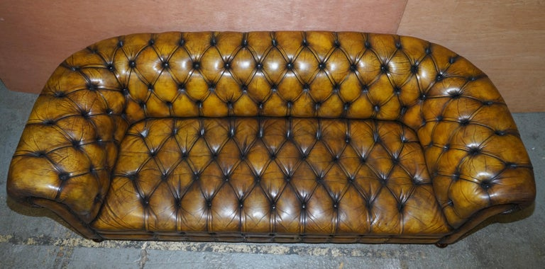 1920's Art Deco Hand Dyed Restored Whisky Brown Leather Chesterfield Tufted Sofa For Sale 5