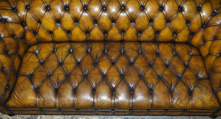 1920's Art Deco Hand Dyed Restored Whisky Brown Leather Chesterfield Tufted Sofa For Sale 6